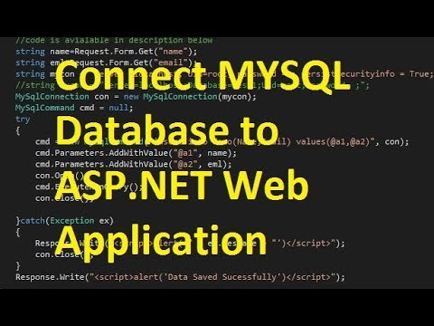 How to Connect MYSQL Database to ASP.NET Web Application
