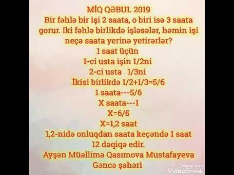 MİQ QƏBUL SUALLARI 10-cu hissə