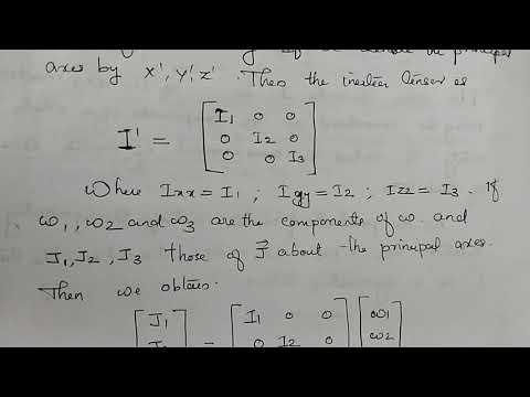 Principal axes , Eigen values of the inertia tensor