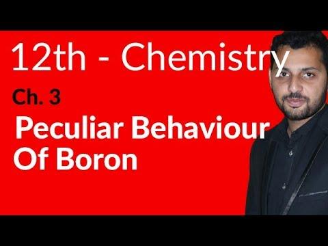 Fsc Chemistry book 2, Ch 3 - Peculiar Behaviour of Boron - 12th Class Chemistry
